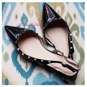 Shoes - New! Studded Sling Back Flats in Nude & Black